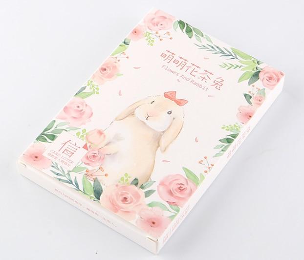 Flower Rabbit Paper Postcard(1pack=30pieces)