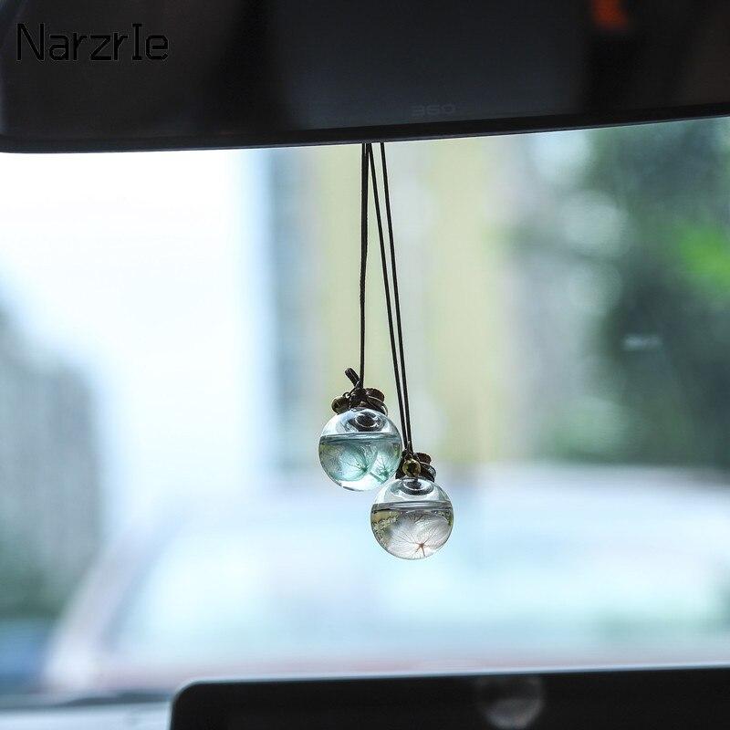 Araba asılı aksesuarları parfüm kolye koku hava spreyi boş cam şişe esansiyel yağlar difüzör otomobiller süsler