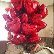50 Uds. De globos de aluminio de corazón rojo de oro rosa de 18 pulgadas, decoración de boda de San Valentín, globo de helio, suministros de fiesta de cumpleaños para niño y niña