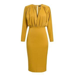 Image 5 - Turmeric Elegant pleated midi dress women 2019 Autumn Party yellow bodycon ladies dress Plus size high waist winter dress new