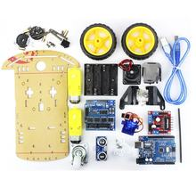 UNO Project 2WD Smart Robot Car Chassis Kits SR04 Ultrasone Avoidance Sensor Lijn Tracking Speed Encoder Motor Module voor Kids(China)