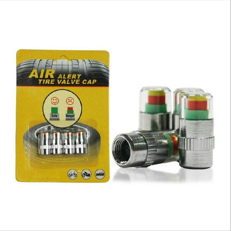 4Pcs/Set Universal 2.0Bar Car Valve Caps Colorful Wheel Caps Dustproof Rustproof Caps For Car Auto Tire Pressure Warning