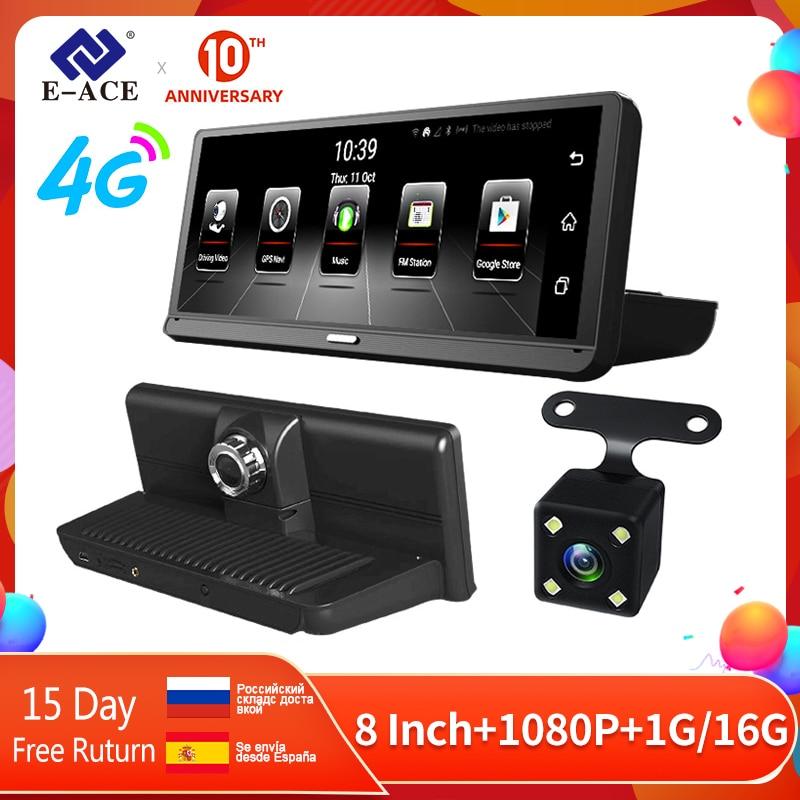 E-ACE E14 Автомобильный видеорегистратор 4G Android Dash Camara 8,0 дюймов видеорегистратор GPS навигация Dashcam ADAS Авто регистратор с камерой заднего вида