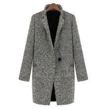 Vintage Autumn Winter Woolen Coat Pocket Oversize Long Trench Coat Outerwear Women Houndstooth Cotton Blend Coat Plus Size 2019