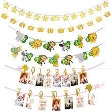 Wild One 1st-Pinzas para fotos de cumpleaños, pancarta de pared, guirnaldas colgantes, decoración de pared de 1-12 Foto mensual, regalo de fiesta de cumpleaños de jungla/unicornio