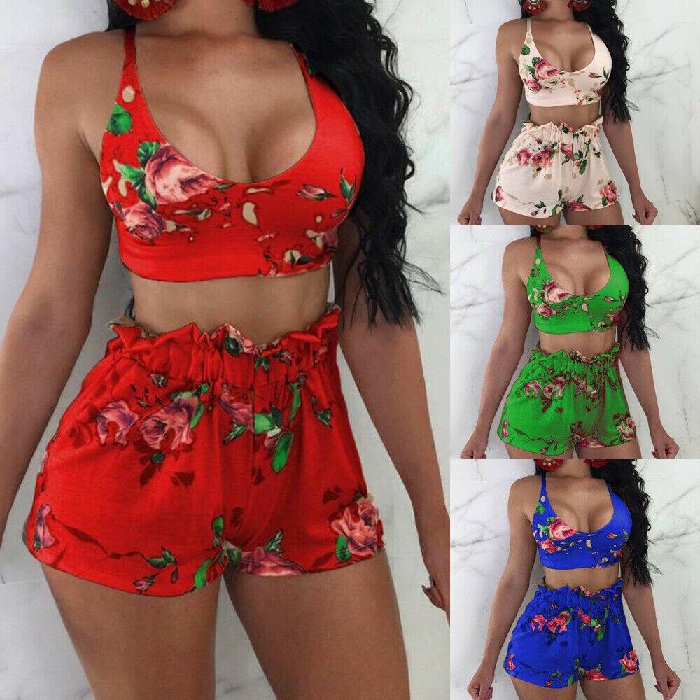2020 Summer Floral Ruffle Women Bikini Set Swimwear Push-up Halter Bra and Ruffle Loose Beach Shorts Femme Swimsuit Beachwear 2