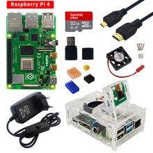 Raspberry pi 4 kit 2gb 4gb 8gb placa ram + câmera 5mp acrílico caso fonte de alimentação cartão dissipador calor para raspberry pi 4 modelo b