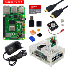 Raspberry Pi 4 Kit 2 ГБ 4 ГБ 8 ГБ ОЗУ + камера 5 Мп + акриловый чехол + блок питания + SD-карта + радиаторы для Raspberry Pi 4 Модель B