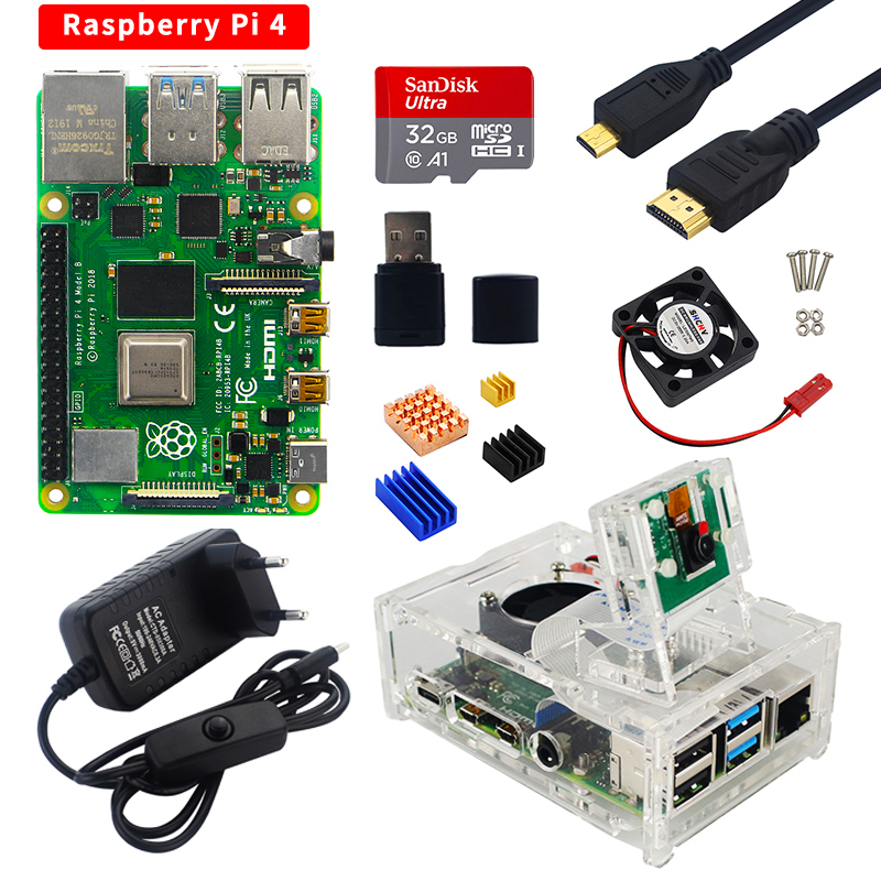 Raspberry Pi 4 kit 2GB 4GB 8GB RAM Board   5MP Camera   Acrylic Case   Power Supply   Card  Heat Sink for Raspberry Pi 4 Model B