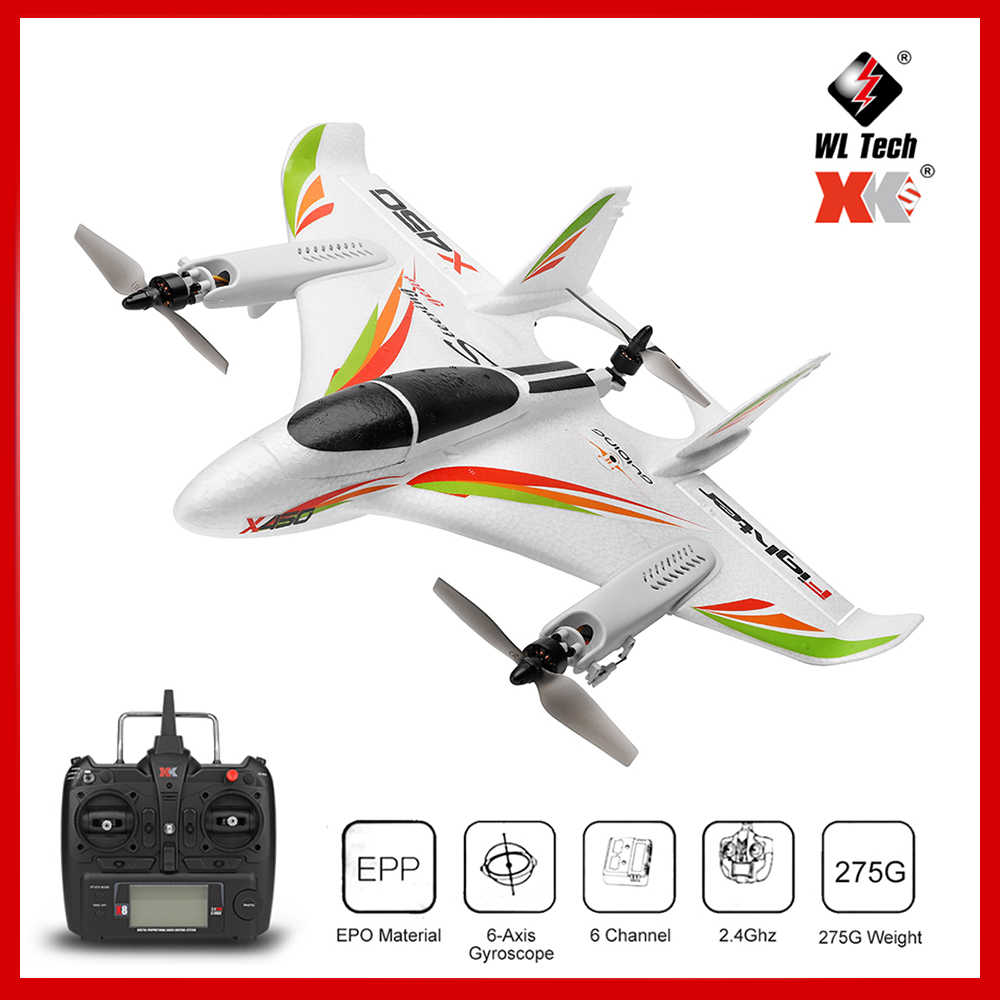 2019 Original 2.4G 6CH Wltoys XK X450 3D/6G RC Lepas Landas Vertikal LED RC Glider Fixed Wing RC Airplane RTF Remote Control Mainan Anak