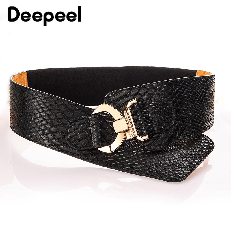 Deepeel 1pc 88cm\94cm Snake Synthetic Leather Fabric Elastic Cummerbunds Fashion Wild Corset Belts For Women Coat Decorative