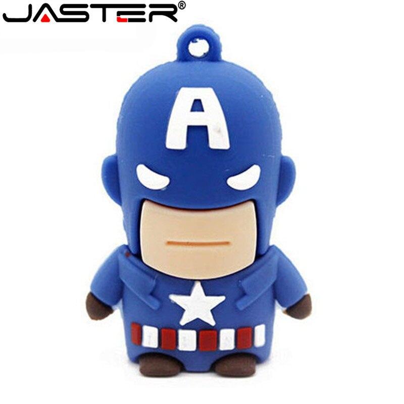 JASTER Pen Drive Genuine 4GB 8GB 16GB 32GB 64GB USB 2.0 Flash Drive PenDrive Cartoon Character Superman Batman USB Drive