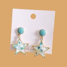 Разноцветные серьги с пятиконечной звездой для Женщин Модные