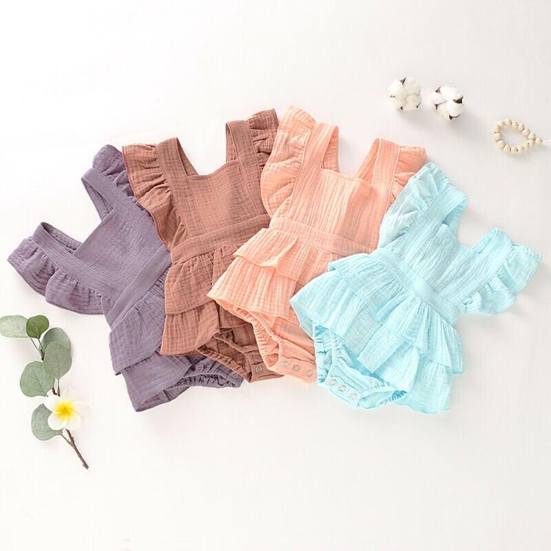 Bodysuit Newborn Baby Girl Clothes Ruffle Cotton Soild Blank Bodysuit Short Sleeve Jumpsuit Outfit Set