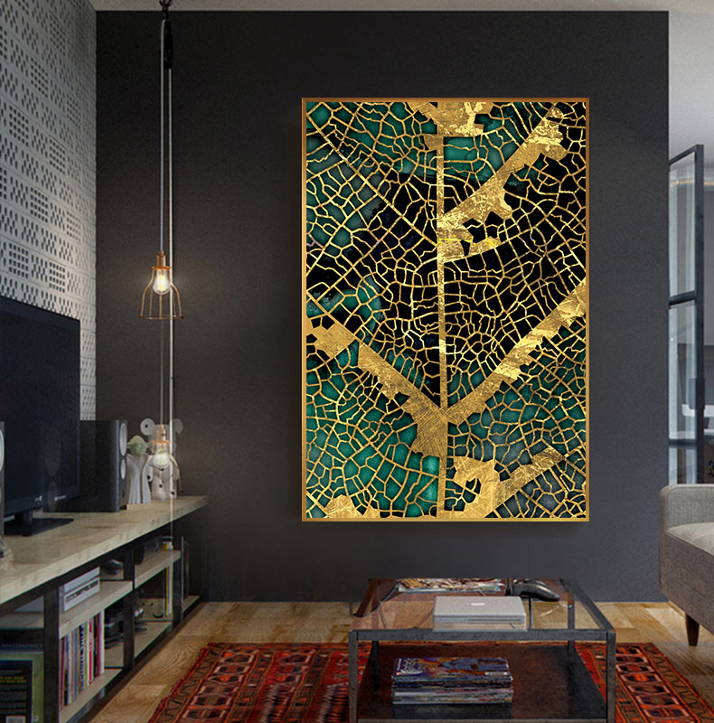 H098e5ea7b010487690fe2d79c1e29d8ar Abstract Golden Leaf Vein Painting Tableaux Big Poster Print HD Wall Art for Living Room Entrance Aisle cuadros Salon decoracion
