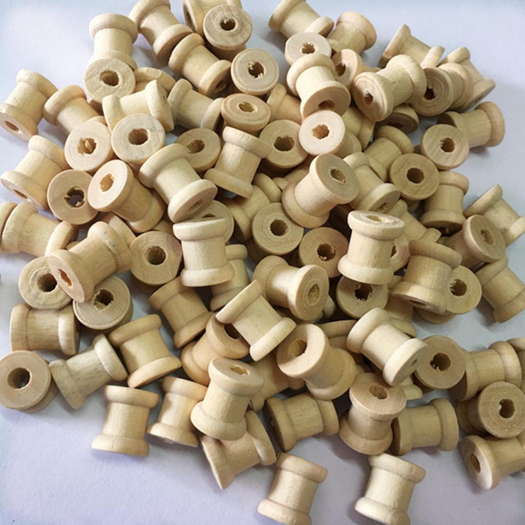100 шт., деревянные пустые катушки для ниток, Классическая катушка, «сделай сам», швейные принадлежности 14x12 мм