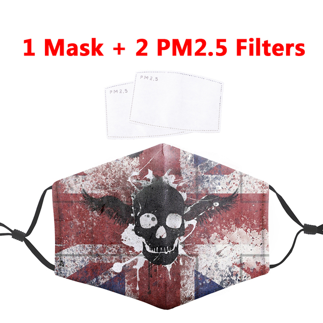 Anti Dust Face Masks PM2.5 Filter Mouth-Muffle Mask Skull Printing Bacteria Proof Flu Mask Reusable Protective Masks