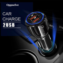 Mini USB Car Charger For Mobile Phone Tablet GPS QC3.0 Fast Charger Car-Charger 2 Dual Port USB Car Phone Charger Adapter in Car universal car phone charger 2 port mini dual usb phone charger adapter smart display for iphone for samsung tablet pc cellphone