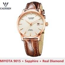 Cadisen C8097 Mannen Horloges Japan MIYOTA-9015 Movt Automatische Horloge Mechanische Horloge Real Diamond Horloge Saffier Glas Klok
