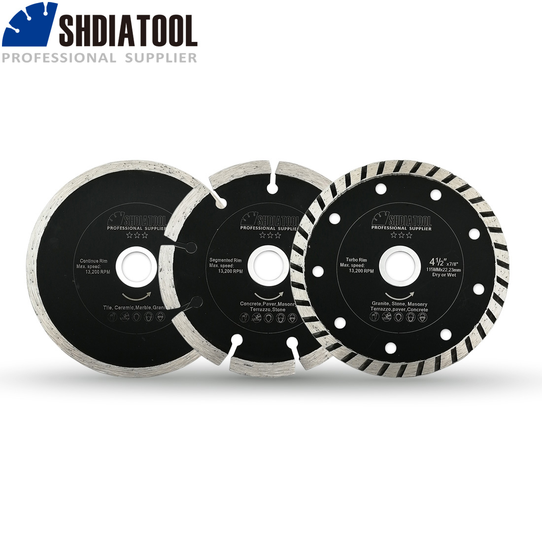 SHDIATOOL 3pcs/set Sintered Diamond Blade For Tile Granite Marble Dia 115mm/4.5