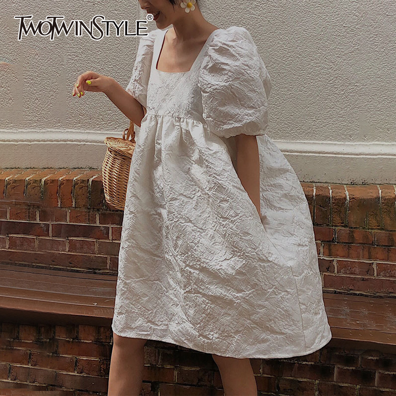 TWOTWINSTYLE 2020 New Summer And Autumn Fashion Women Clothes Hubble-bubble Sleeve Sqaure Collar Lantern Sleeves Pullover Dress