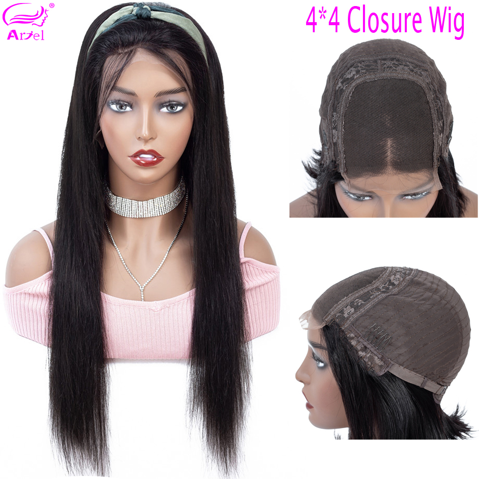 Closure Wig 4×4 Straight Human Hair Wigs Lace Closure Wig 30 Inch Wig Brazilian NonRemy PrePlucked Hairline 130 Density Lace Wig