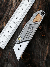 Straight Utility Knife TC4 Titanium Alloy Portable Box Opener Wallpaper Knife Outdoor Self-defense Self-help Gift EDC