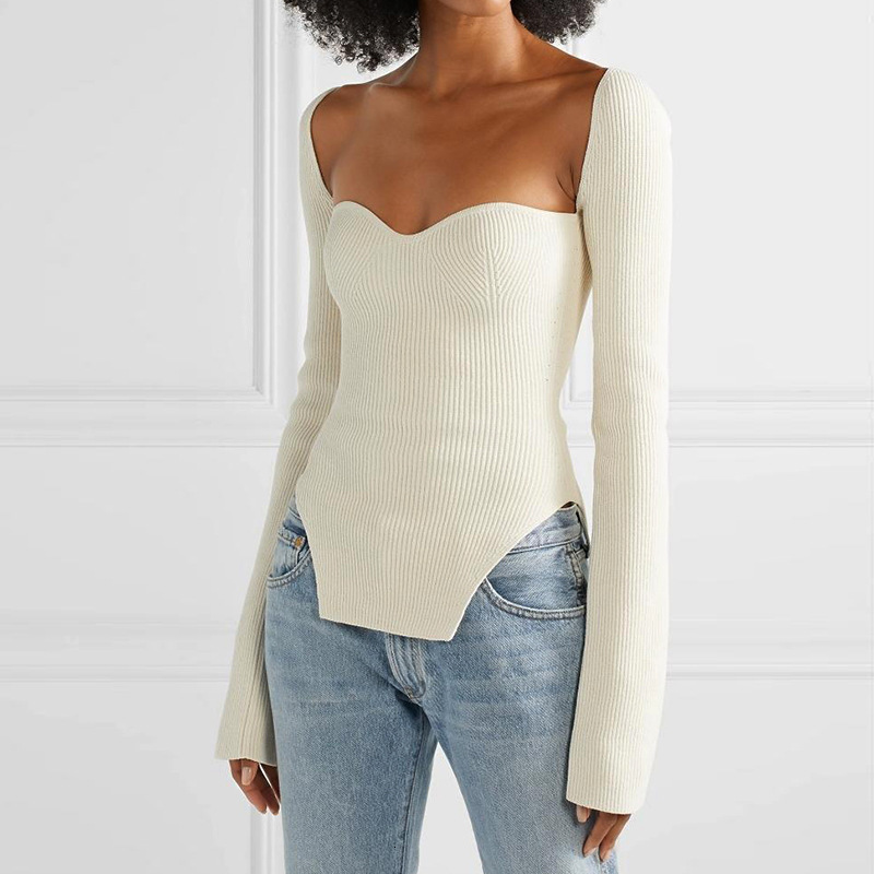 IMucci  2020 New Spring And Summer Fashion Women Clothes Cashmere Sqaure Collar Full Sleeves Elasitc High Waist Sexy Pullover