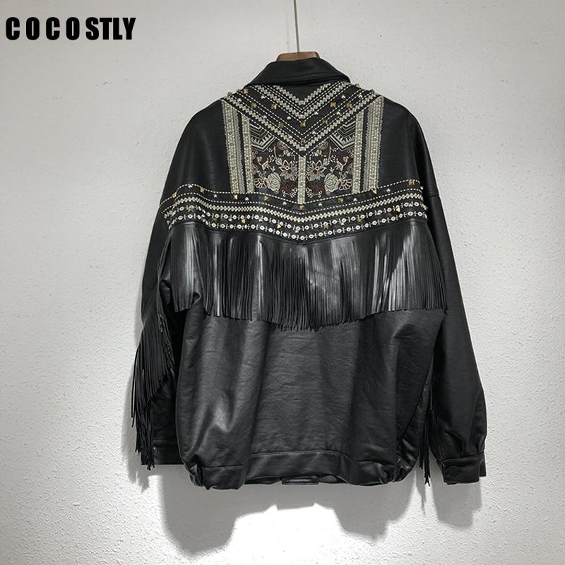 New Leather Jacket Women Coat Embroidery Rivet tassel PU Short Leather coat Loose Motorcycle Jacket ladiess