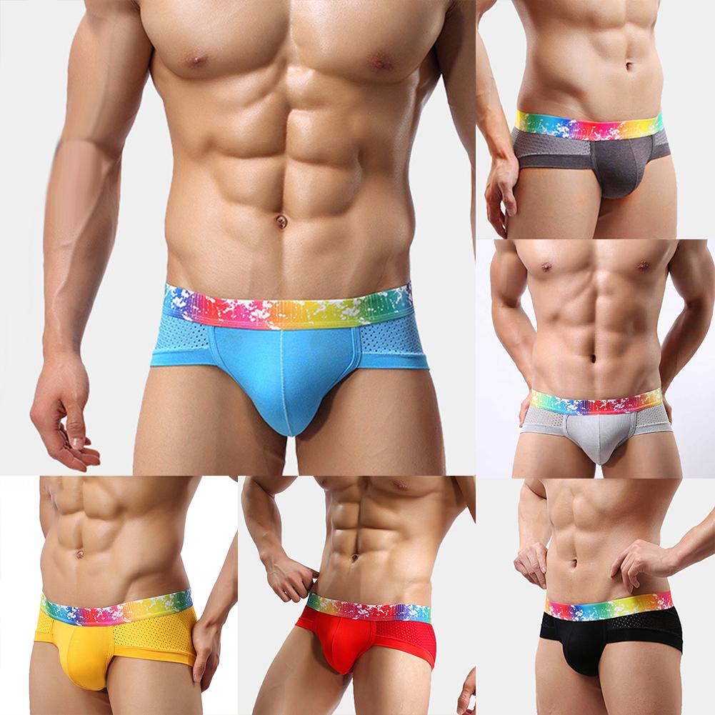 Mens Underwear Solid Colorful Breathable Male Panties Shorts Sexy Low Waist U Convex Design Men Underpants