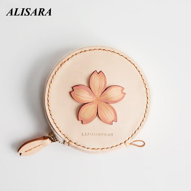 Aat Della Borsa Della Moneta per le donne puramente Primo strato di pelle bovina Giapponese di arte fatti a mano borsa della Moneta del raccoglitore regalo per la moglie fidanzata molto nizza