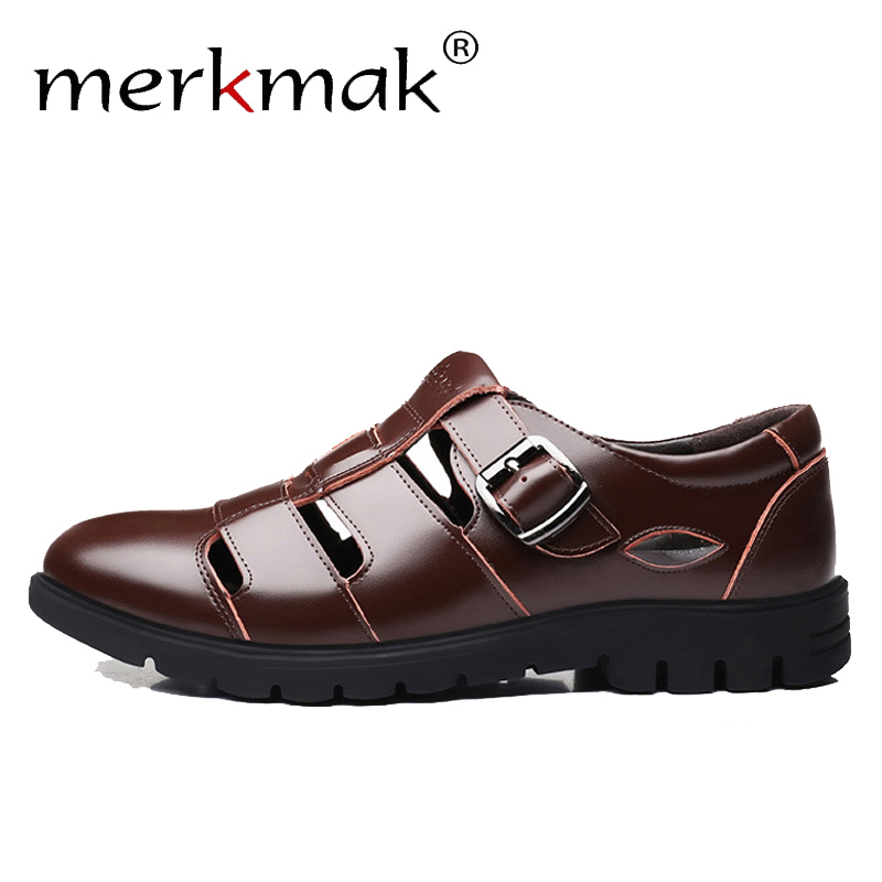 Merkmak Men Sandals Genuine Leather Sandals Men Breathable Outdoor Casual Male Beach Shoes Man Flat Big Size 38-47 Drop Shipping