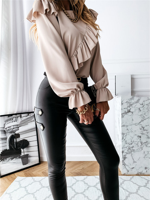 CHRONSTYLE Women Ruffle Shirt Blouse 2021 Solid Color Outwear Casual Long Flare Sleeve Loose Tops Long Sleeve Office Lady Shirts 4