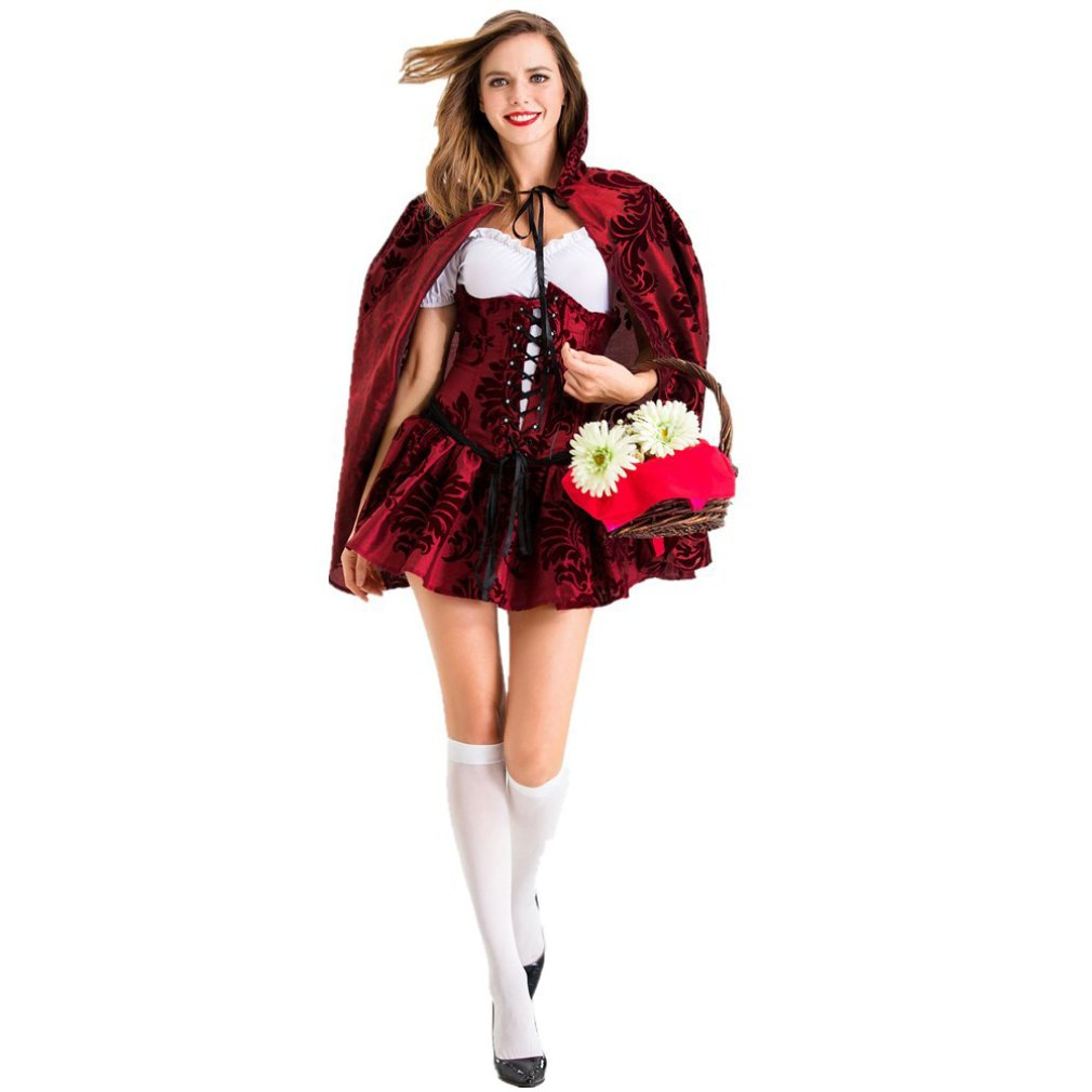 Halloween Little Red Riding Hood Dress Stage Costumes Role-Playing Halloween Carnival Show Professional Masquerade Ball