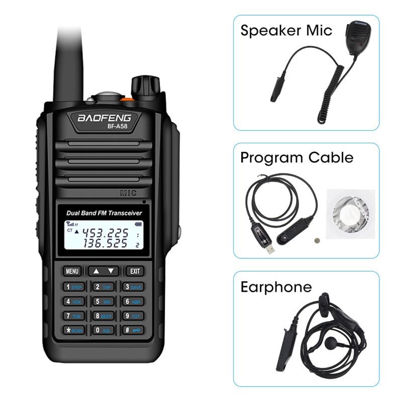 De Baofeng BF A58 Walkie Talkie IP68 impermeable 128CH de doble banda UHF, VHF Radio de dos vías transmisor FM portátil CB estación de Radio aficionadoTransceptor   -