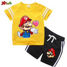 цена на Toddler Boy Clothes Kids Two Piece Clothing Set Cotton Baby Boys Sport Suit Children Clothing Set Mario Clothes Infant Clothing