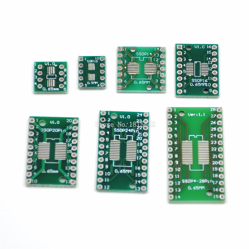 35pcs=7value*5pcs PCB Board Kit SMD Turn To DIP SOP MSOP SSOP TSSOP SOT23 8 10 14 16 20 24 28 SMT To DIP