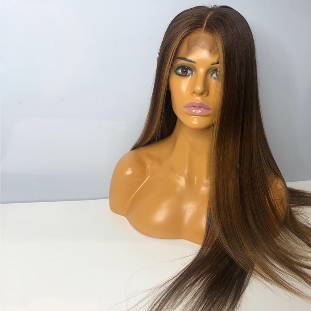 4X4 Silk Base Full Lace Human Hair Wig Highlight Color PrePlucked Silky Straight Silk Top Wig Brazilian Remy Hair For Women