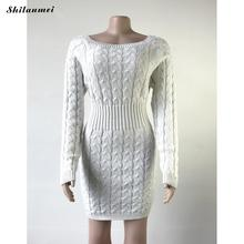 2019 Autumn Winter Warm Sweater Dress Female Long Sleeve Knitted Mini Bandage Vestidos Women Sexy Slim Solid Bodycon