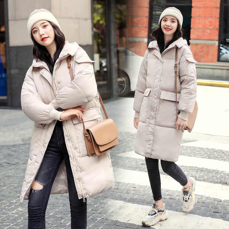 ผู้หญิงฤดูหนาวเสื้อแจ็คเก็ต 2019 หลวมหญิงกลางยาว Thicken Hooded ขนมปังบริการผ้าฝ้าย Casual Coat Park JF083