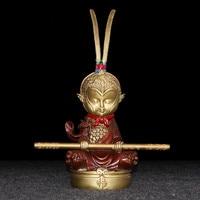 Pure copper monkey king statue, hand painted Sun Wukong battle god, Home living room desk decoration, car bronze ornaments 21cm