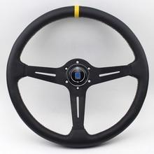 """15 """"(370 مللي متر) ND الأسود سباق عجلة القيادة شقة جلدية سباق عجلات القيادة"""