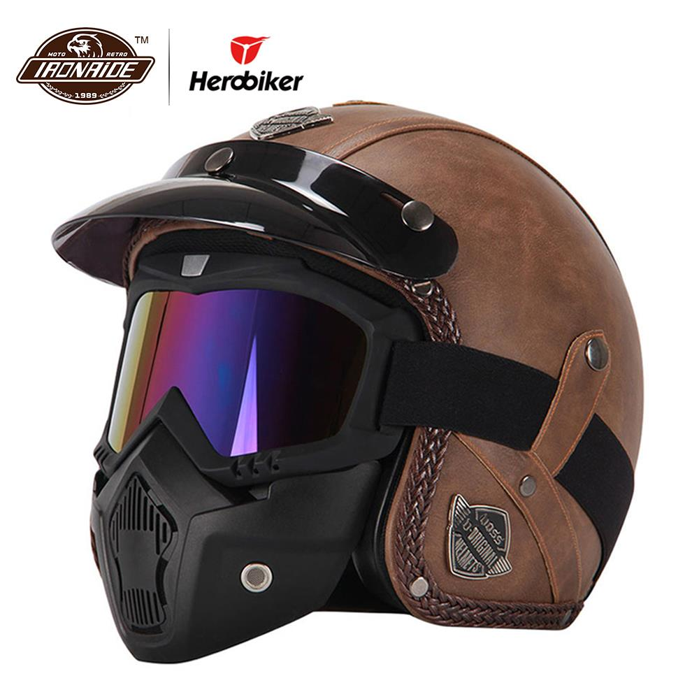 Nouveau rétro Vintage Style allemand Moto casque 3/4 ouvert visage casque Scooter Chopper Cruiser Casco Moto casque lunettes masque
