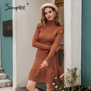 Simplee Casual Turtleneck women knitted dress Autumn winter long sleeve lace up dress elegant style female sweater dress 2020
