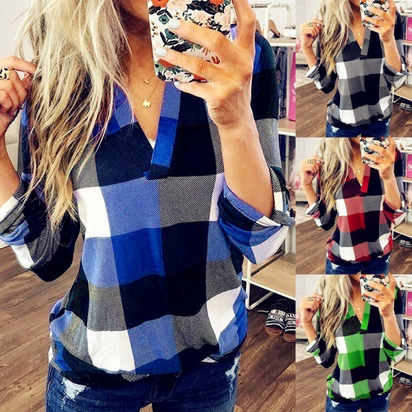 2019 Autumn Winter Women Blouses Vintage Sexy Hollow Out V Neck Plaid Casual Befree Long Sleeve 5XL Big Large Plus Sizes Shirts