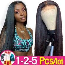 13x4 dentelle avant perruques de cheveux humains pré-plumé brésilien cheveux raides dentelle frontale perruques pour femmes Remy Jarin vente en vrac 1-2 pcs/Lot