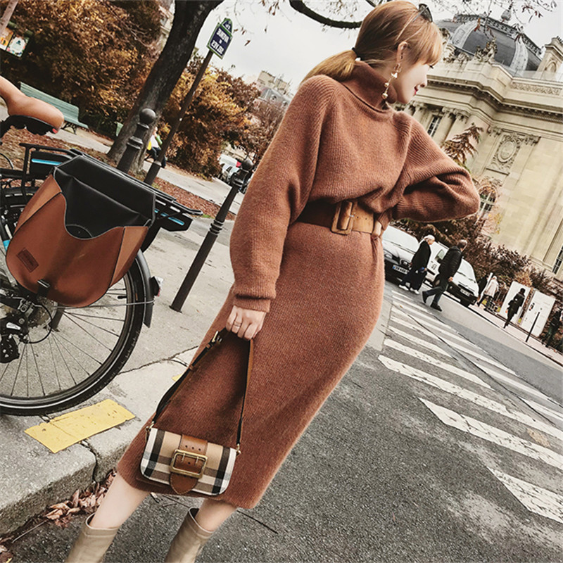 2020 Winter Female Sweater Dress Women Pullover Turtleneck Long Sleeves Warm Slim Sweater Knitted Dress With Belt Drop Ship