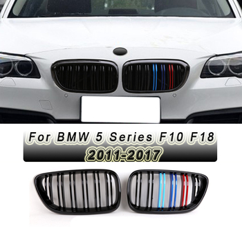 1 PairGloss Black Double Line Front Bumper Kidney Grille for BMW 5 SeriesF10 F18 2011-2017
