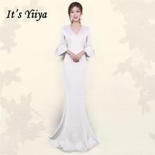 Evening-Dress Flare-Sleeve Robe-De-Soiree Mermaid Formal Plus-Size Yiiya V-Neck DX393