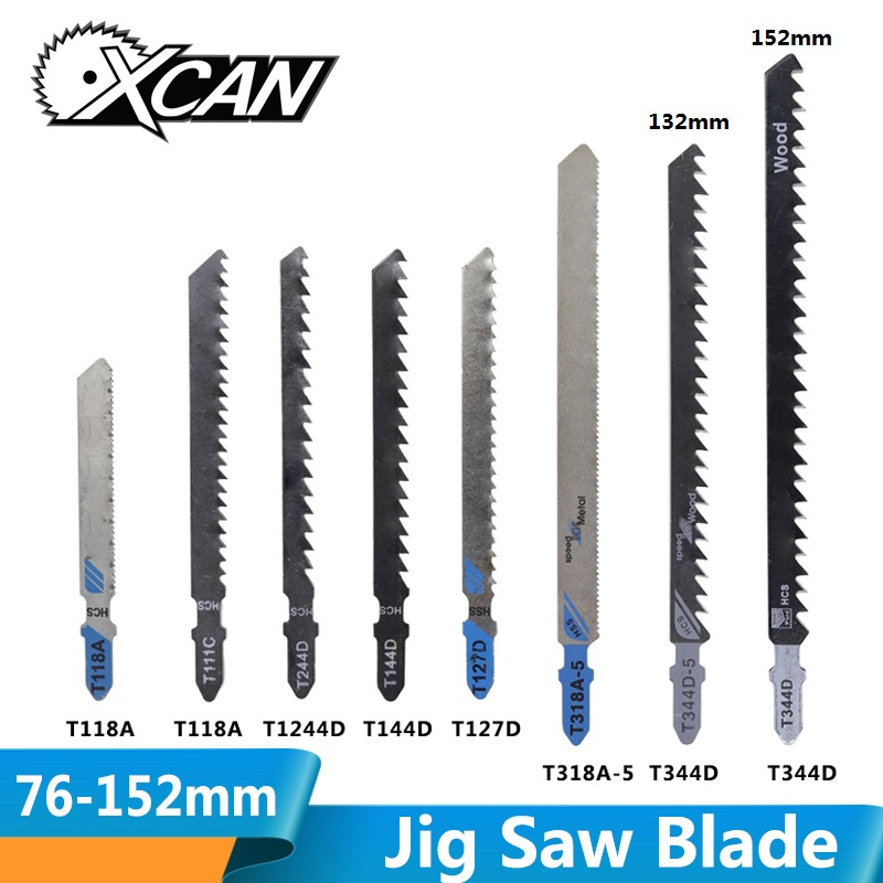 XCAN 5pcs T111C T118A T127D T144D T244D T318A T344D High Carbon Steel Jig Saw Blade For Wood/Metal Cutting  T Shank Saw Blade